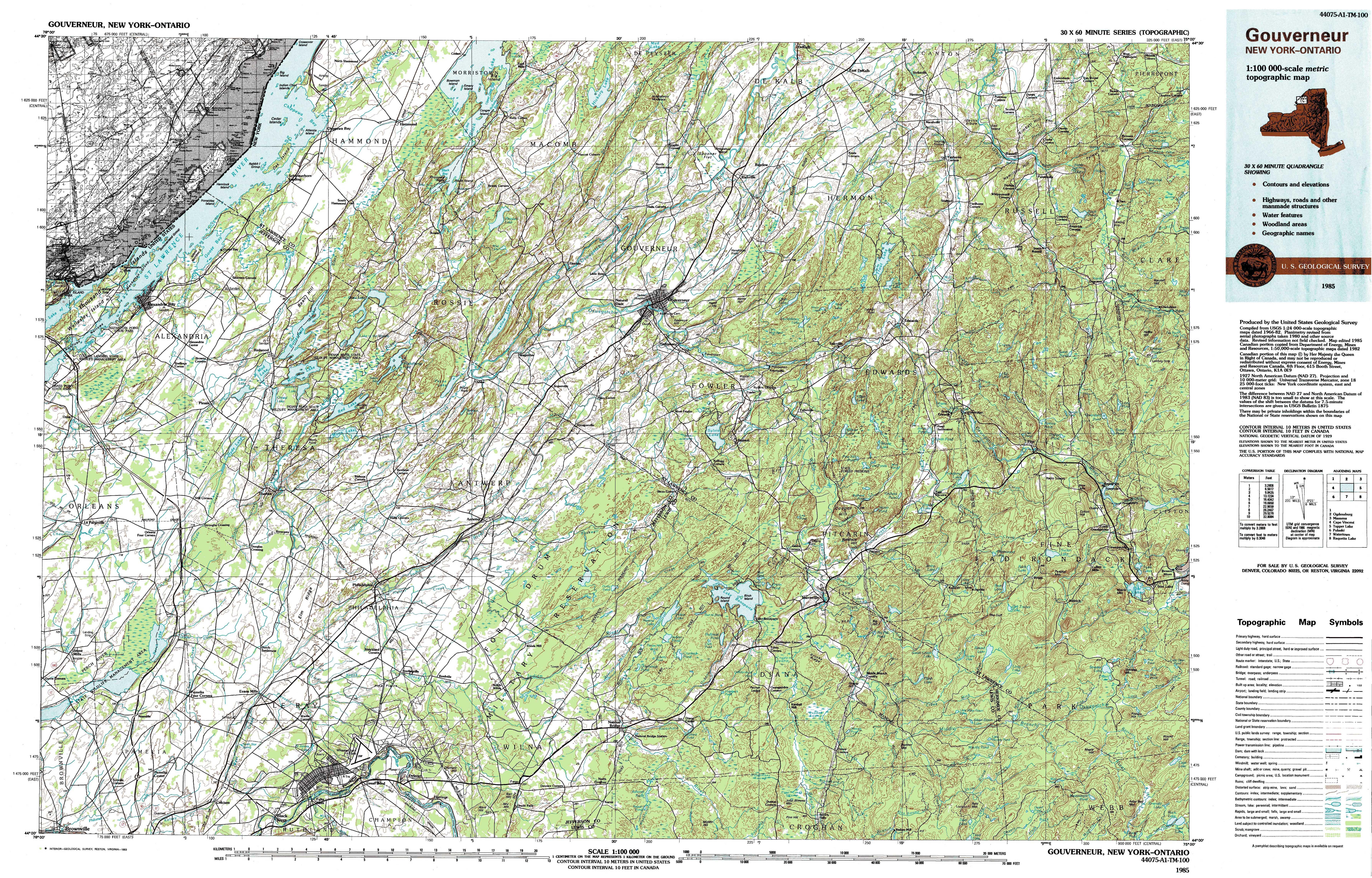 Ontario Topographic Map.New York Topo Maps Topographic Maps 1 100 000